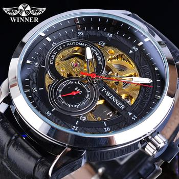 цена Winner Men Automatic Watches Golden Transparent Skeleton Mechanical Movement Black Leather Wristwatches Male Clock Relogios Gift онлайн в 2017 году
