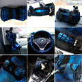 Luxury Mei Mei Bear Car Seat Cover Interior Accessories Plush Fur Steering Wheel Safety Belt Covers Set for Women - Blue