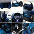 Mei Mei Oso Cubierta de Asiento de Coche Accesorios Interiores de Felpa de lujo cubierta Del Volante de piel Cinturón de Seguridad Covers Set para Las Mujeres-azul
