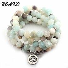 BOAKO Natural Stone Lotus Buddha Beads Bracelet Matte Amazonite Mala Beads Bracelets Bangles For Women Men Charm Fashion Jewelry