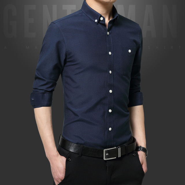 New Fashion Casual Men Shirt Long Sleeve Slim Fit Black Shirt Men Solid  Color Mens Dress Shirts Men Large size Clothes 8a00ab6527b