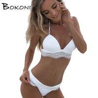 Lace Bikinis Set 2017 White Swimwear Women Solid Push Up Swim Suit Beachwear Bandage Bathing Suits