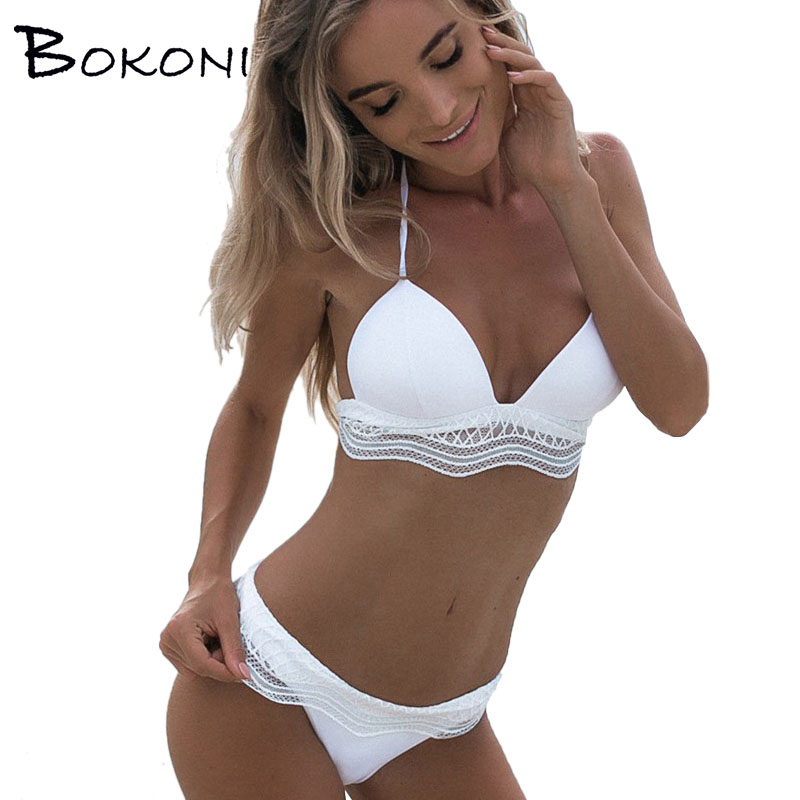 sxey lace bikini top 2018 white swimwear women solid push up bikini set beachwear bathing suit. Black Bedroom Furniture Sets. Home Design Ideas
