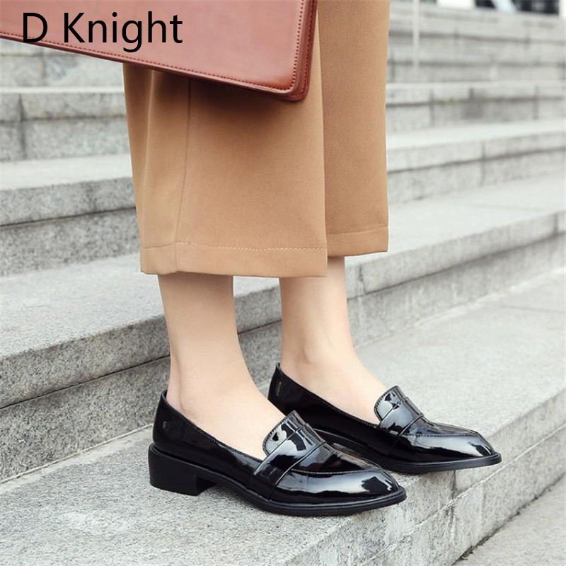 Large Size 32-43 Lady Casual Flat Loafers Shoes Fashion Patent Leather Pointed Toe Women's Flats British Black Red Women Oxfords (5)