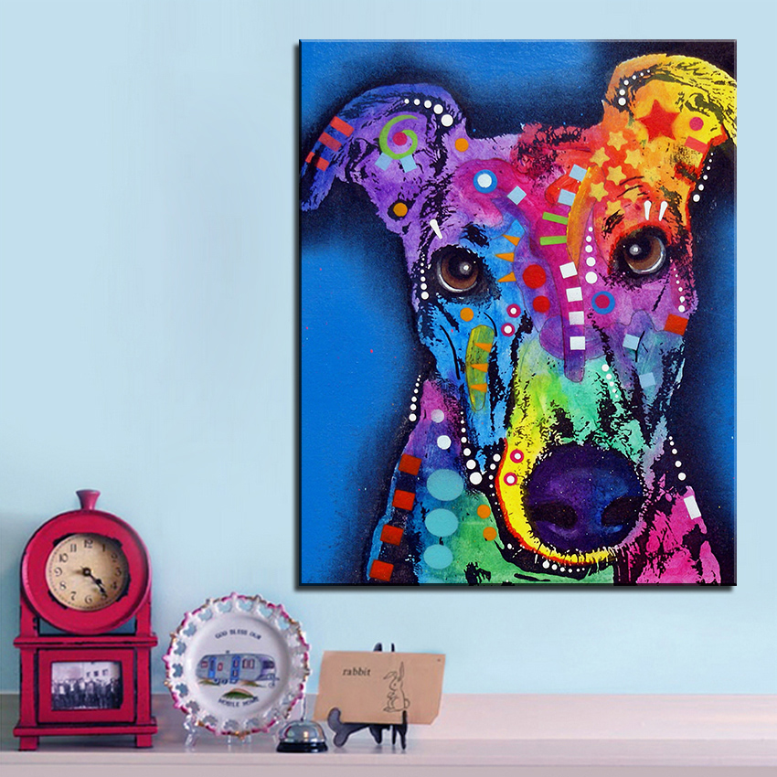 Large size Print Oil Painting Wall painting greyhound dog Home Decorative Wall Art Picture For Living Room paintng No Frame