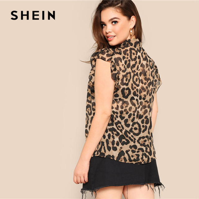 SHEIN Plus Size Women Blouses Tied Neck Sexy Leopard Print Sheer Sleeveless Blouse Ruffle Trim Shoulder Summer Thin Tops Blouses 1