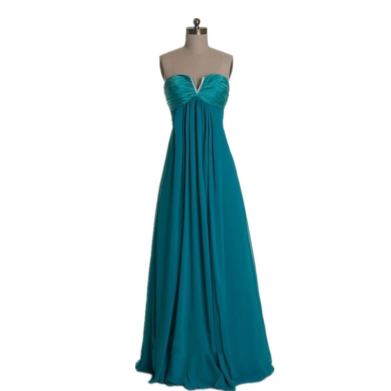 MDBRIDAL Chiffon Bridesmaid Dresses in Teal color Strapless High Waist Women Party Dress