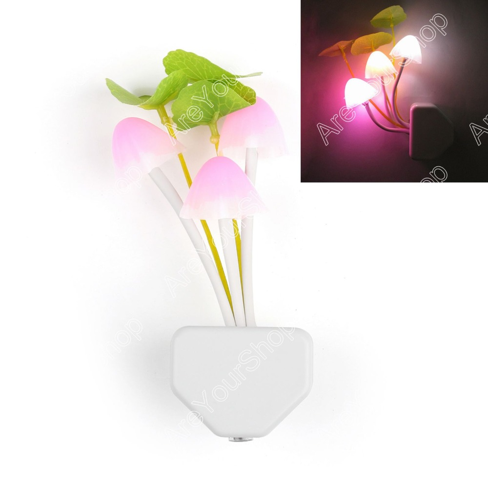Areyourshop Sale 7 colors Sensor Night Light Mushroom Fungus LED Lamp 220V US Plug Romantic Colorful Home Decor Illuminations