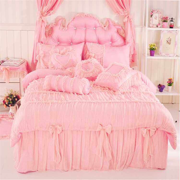 Korean princess tribute silk printing pattern ruffle lace 3/4pcs pink/purple bedding set twin full queen king size free shipping