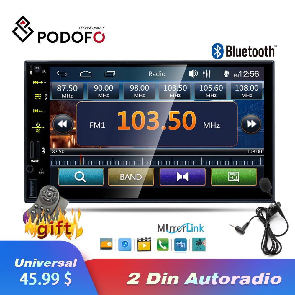 Podofo 2 Din Car Radio Autoradio 7'' Touch screen Car Multimedia Player Mirror link MP5 Stereo Bluetooth USB TF FM Auto Radio-in Car Radios from Automobiles & Motorcycles    1