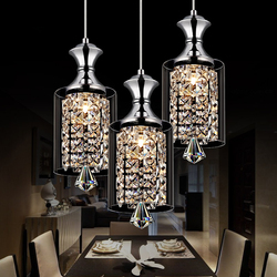 LED lampy kryształowe restauracja podłużna lampa jadalnia klosz osobowość twórcza trzy pojedyncze głowy proste nowoczesne lampy wiszące w Wiszące lampki od Lampy i oświetlenie na