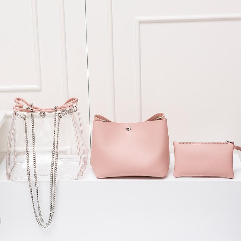 Pink Donne Sacchetto Della Del Progettista Modo Nuovo Secchio Spalla Borse Trasparente bianco Lusso Catena Delle Gelatina azzurro Cielo Semplice Messaggero Di 2018 qCBfwUx