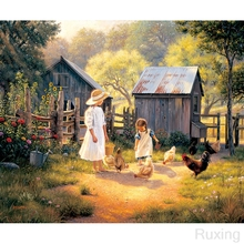5DDIY Diamond Painting full Square Drill Little village scenery, little girl feeding chicken mosaic gift Home Decor Gift