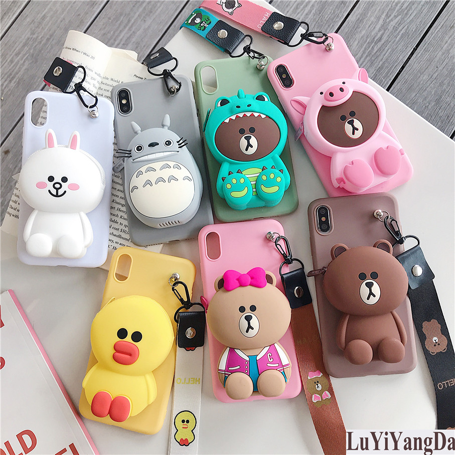 Cute Cartoon Zipper Wallet Phone Case for Huawei Y5 Lite Y6 Y7 Pro Y9 Prime 2019 2018 Soft Silicone Cover Coque Fundas|Fitted Cases| |  - title=