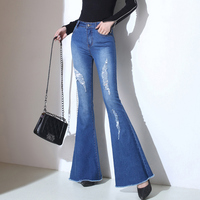 2018 New Arrival Elegant Flare Jeans Woman Slim Ripped Jeans For Women Tessel Blue Black Womens Denim Jean Pants Plus Size Zip
