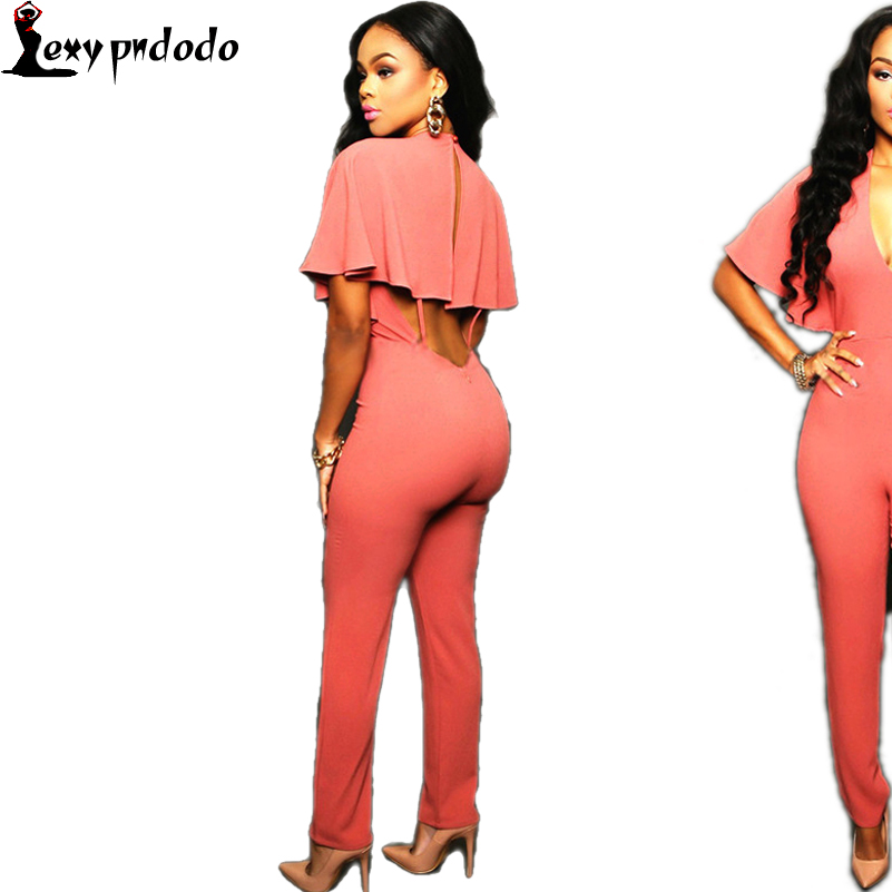 Pink Cape Jumpsuits Batwing Sleeve Deep V-neck Sexy Backless Plus Size xl Button Zipper Jumpsuit bodycon Women