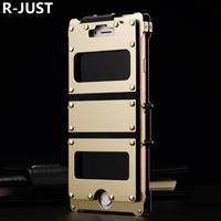R JUST For iPhone 8 Plus Case Cover Luxury Glossy Hard Metal Steel Shockproof Armor Flip Phone Case for iPhone 7 Plus Cover Capa