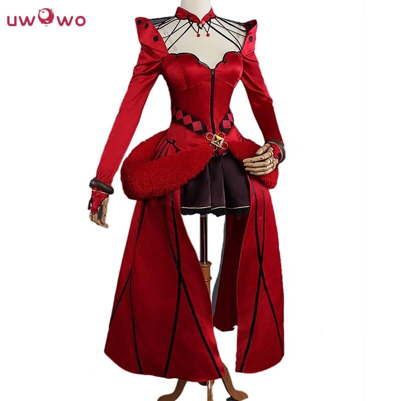 UWOWO Rin Tohsaka Gioco Cosplay Anime Fate Grande Ordine Formale Craft Red Dress Costume Fate Grande Ordine Cosplay Rin Tohsaka