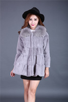 2016 Winter Warm Women Real Fur Jackets Rabbit Coat Women's Medium Fox Big Fur Collar Jacket Whole leather Cloak Puls Size