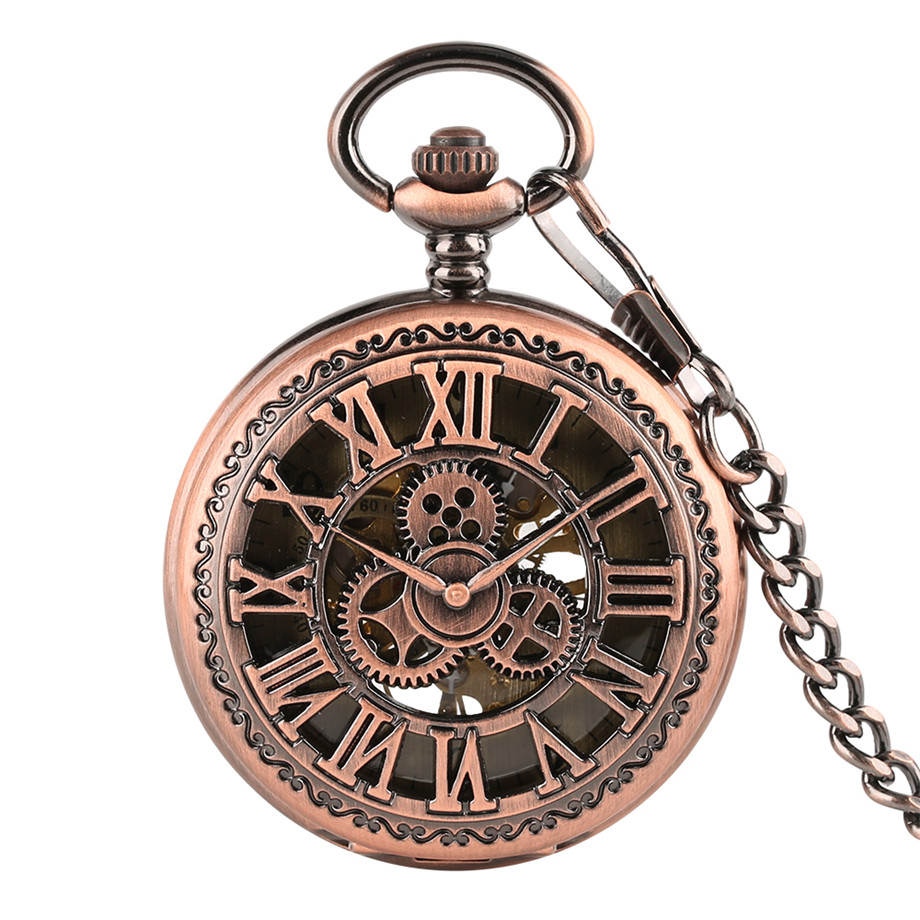New Arrival Creative Vintage Pattern Hand Winding Mechanical Pocket Watches Hollow Gear Design Stylish Pocket Watch With Chain