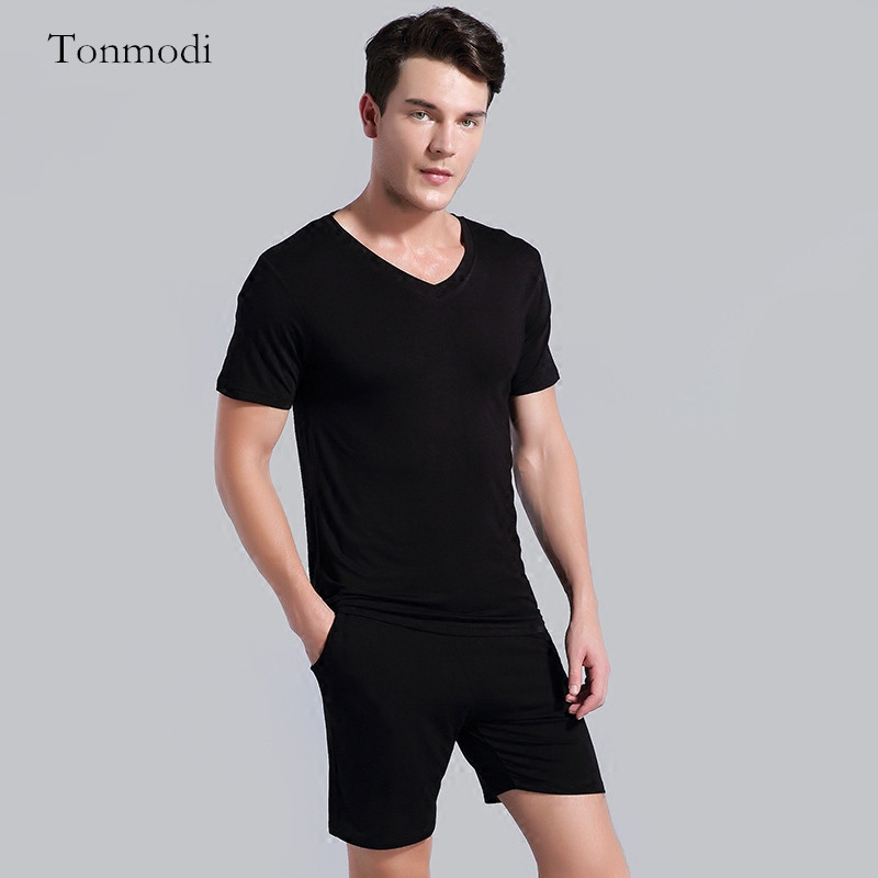 Underwear & Sleepwears Men's Sleep & Lounge The Cheapest Price 100% Cotton Mens Short-sleeved Pajama Set O-neck Black T-shirt Plaid Trousers Mens Pajamas Autumn Sleepwear Plus Size For 95kg 2019 Official