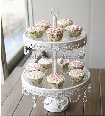 Double Layer Glass Plate Cake Decorating Tools Crystal Tray Cup Cake Stand Cake Tray Dessert