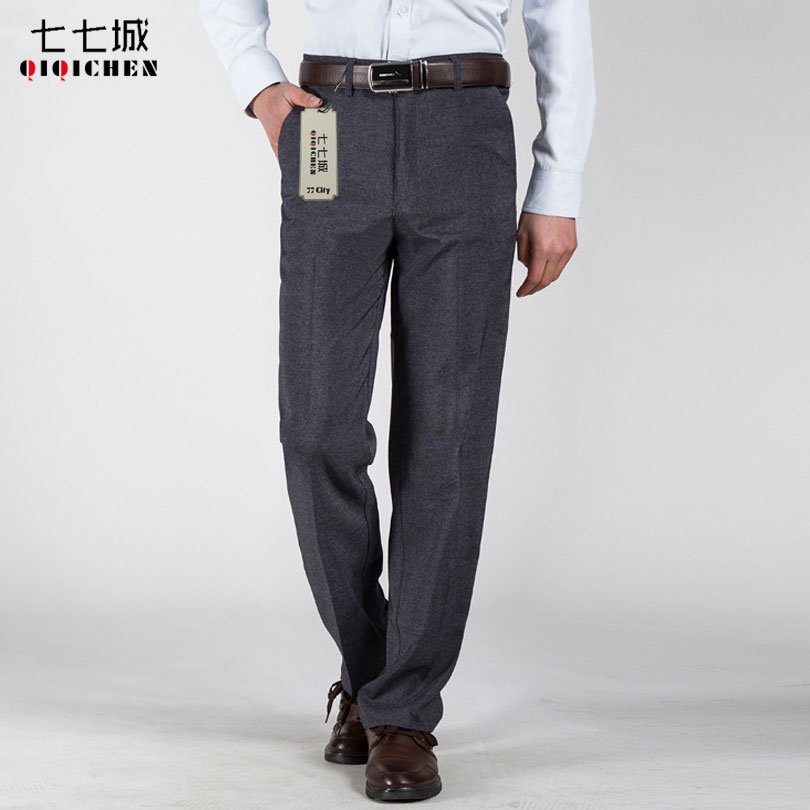 Summer Work Office Suit Pants Men Wedding Grey Formal Business Casual Straight Loose Dress Trousers Men pantalon costume homme