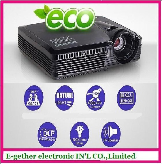 hot sale for DLP ES60 projector 4000lumens native 1024*768  , Full  HD1080 projected 300inch,3D Video Projector