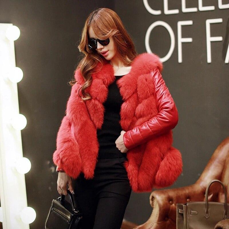 En Survêtement Fourrure Veste Chaude Imitate Cuir De blanc Pu Rouge Hiver camel gris Fox Femmes Faux Manteau 1gwCq84x
