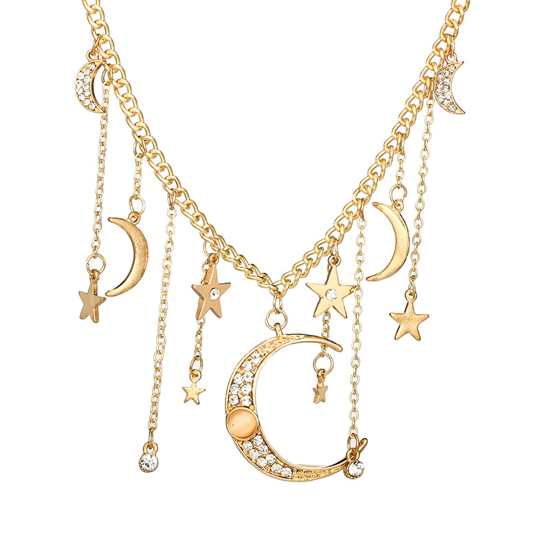 KMVEXO Vintage Gold Crystal Moon Stars Necklaces Women Summer Bohemian Tassel Layers Pendant Necklace Collar Jewelry Party Gift