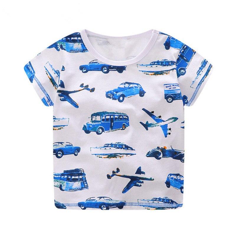 Toddler Kid Clothes Baby Boy Short Sleeve Cartoon Plane Stripe Tops Shirt Blouse