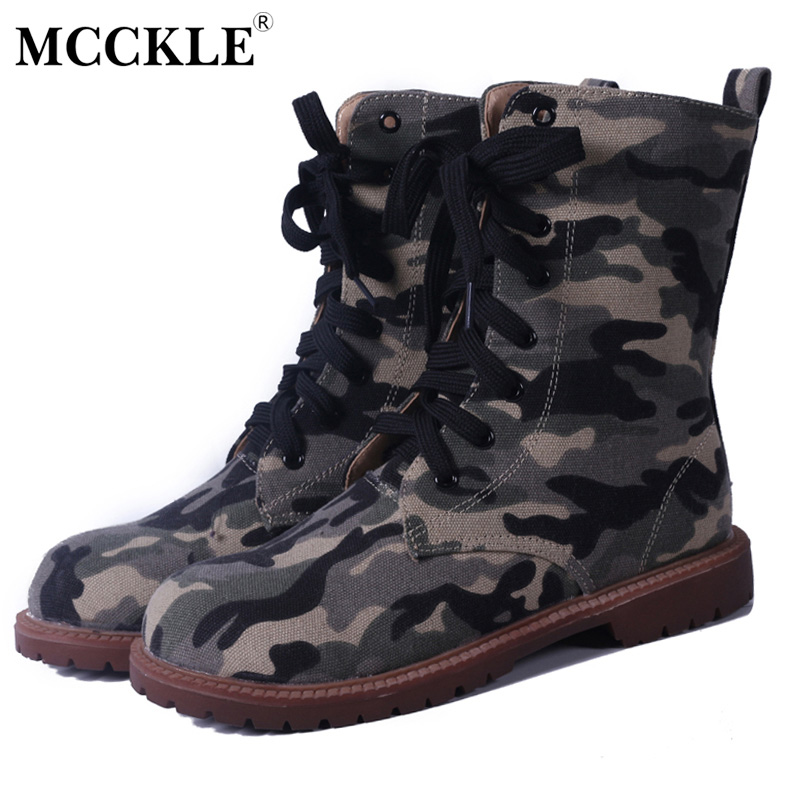 MCCKLE Woman Fashion Military Style Mid-Calf Denim Boots Female Low Heels Lace Up Platform Shoes Women Camouflage Boots double buckle cross straps mid calf boots