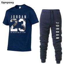 e9b2ca0cc87 Men's Sets T Shirts+pants Two Pieces Sets Casual Tracksuit Men/Women Jordan  23