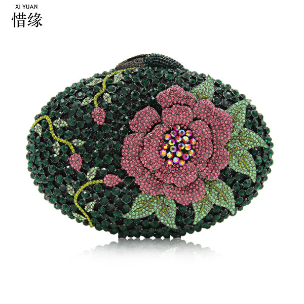 XIYUAN BRAND Women DAY ClutchES for mom gift Flower Evening Bags Wedding Purse Luxury Crystal Clutches Diamond Party Bag xiyuan brand women gold silver purse flower multicolor evening bags wedding clutch luxury crystal clutches diamond party bag