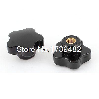 Black Plastic M8 8mm Female Thread Star Shaped Head Clamping Nuts Knob 2pcs стоимость