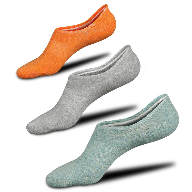 3 Pairs Boat Socks Unisex Breathable Cotton Socks Invisible Silicone Non Slip Socks High Quality Low-Cut Socks
