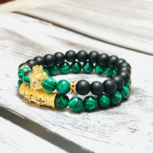 Men's Bracelet Set Luxury King Lion Braslet Natural Malachite Chrysocolla Bracelets Hiphop Friendship Jewelry Couple Braclet(China)