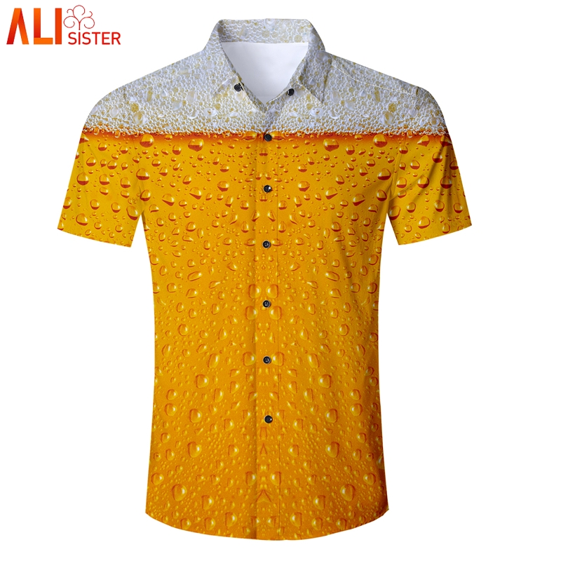 Alisister Funny Beer Print Baseball Shirts Mens Summer Casual Short Sleeve Chemise Homme Mens Dress Shirts Camiseta Hombre Uomo
