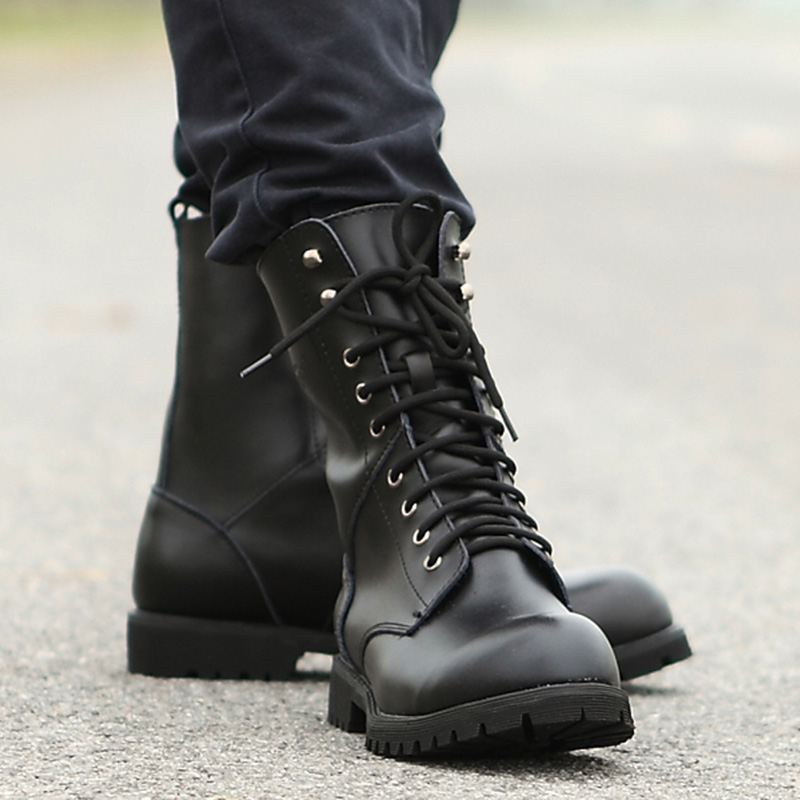 Genuine Leather Men Military Boots Men's Motorcycle Riding Hunting - Men's Shoes - Photo 5