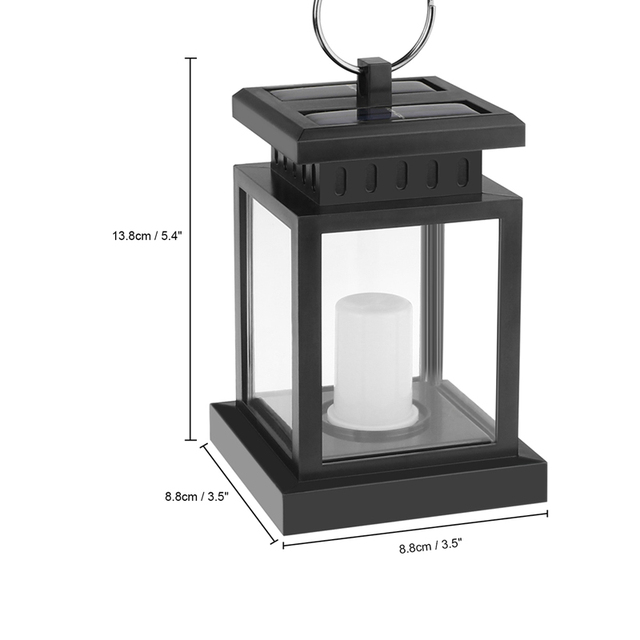 Waterproof Flickering Flameless Solar LED Candle Light Outdoor Hanging Lantern Smokeless for Garden Yard Lawn Patio Camping Tent