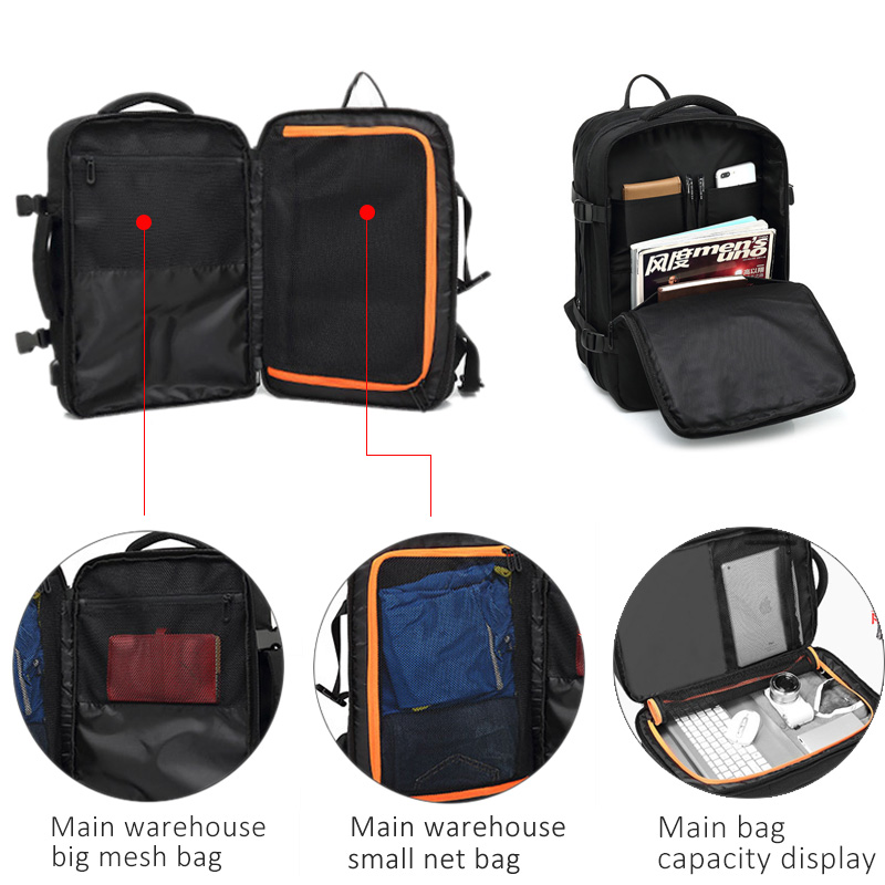 17 ''sac à dos pour ordinateur portable sac de voyage femmes hommes étanche 30L grand sac à dos extérieur Anti-vol mâle femelle extérieur 15.6 retour emballage - 3