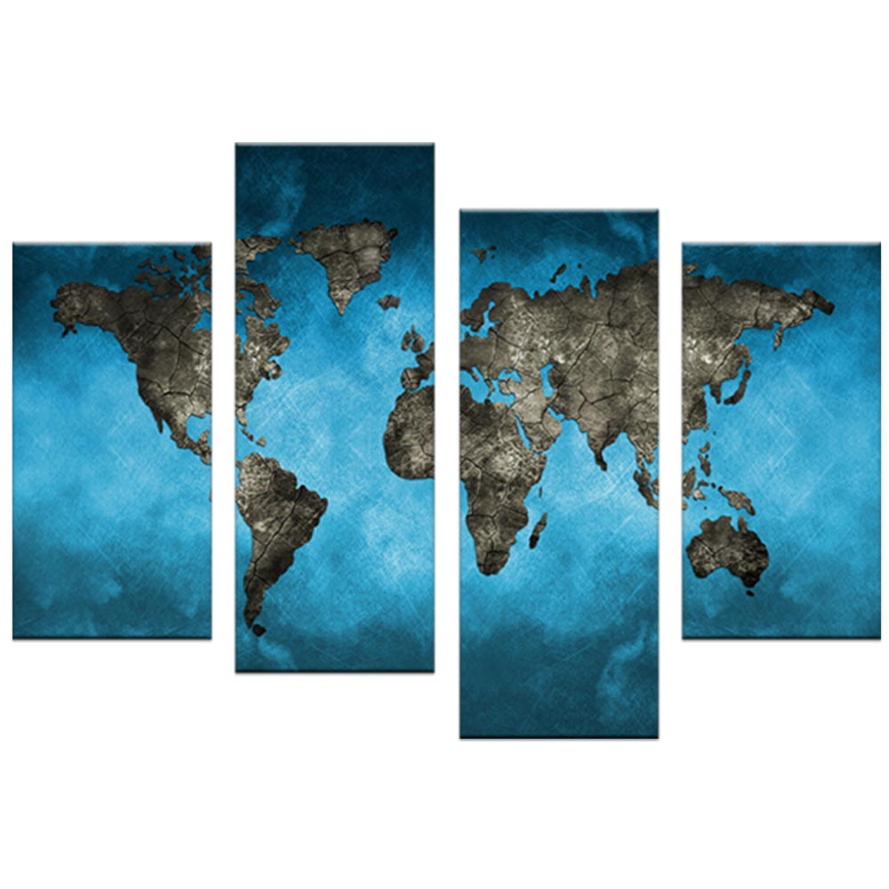 World map canvas print painting abstract blue map artwork picture world map canvas print painting abstract blue map artwork picture 4 piece for home decor in painting calligraphy from home garden on aliexpress sciox Images