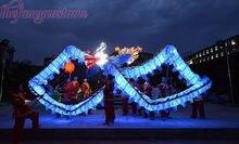 5,5 М детей размер светодиодные светильникиЧИНСКИЙ ДРАКОН ТАНЕЦ шелкФолк Фестиваль Праздничный костюм 6 детей, чтобы играть