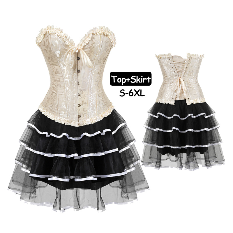 Women's Halloween Bustiers and corsets shapewear Party Masquerade Brocade Ruffles Lace Up Gothic Sexy Corset Dress Skirt Set