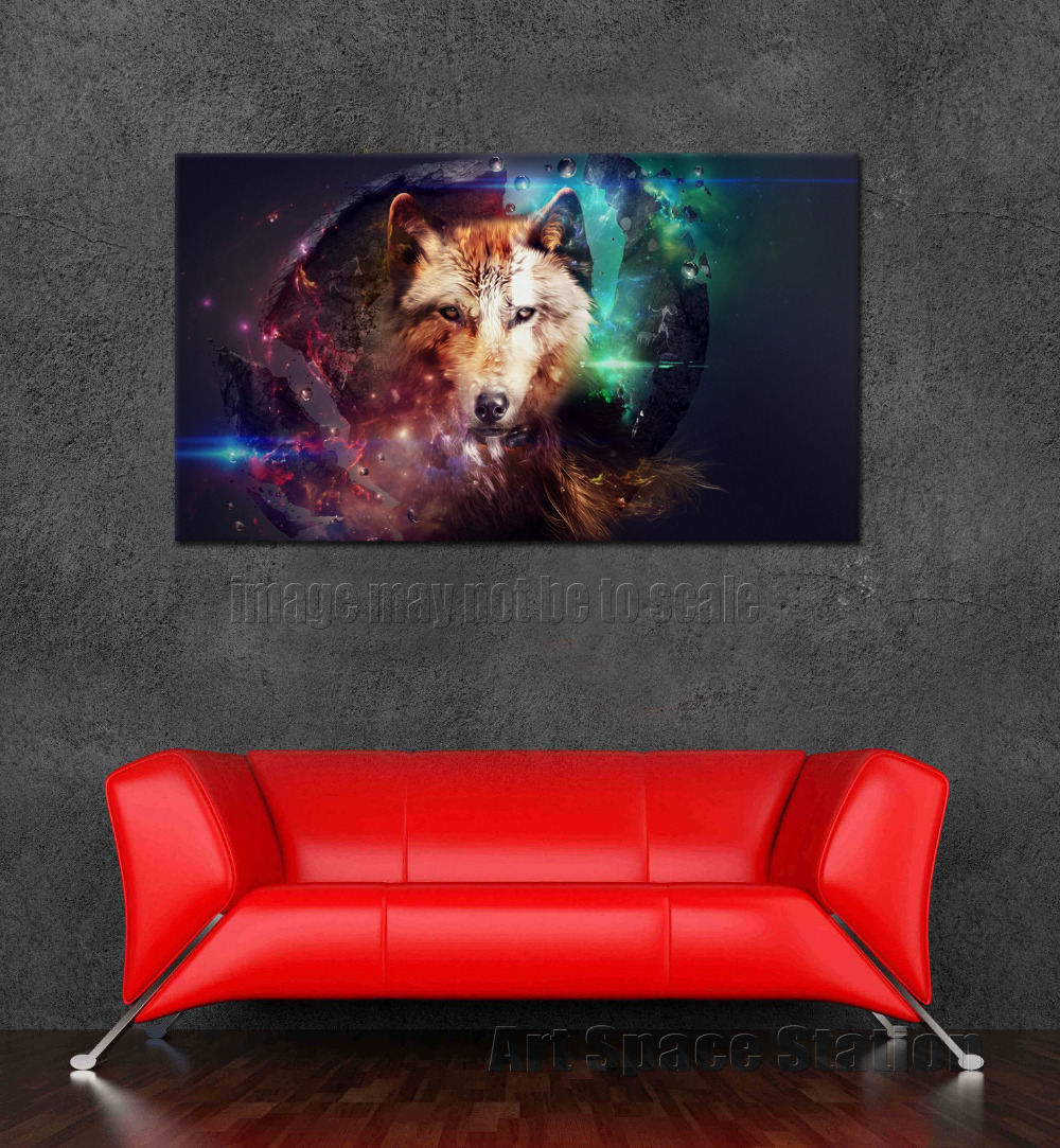 No Frame Modern Home Decor Magic Wolf Canvas Printings Large Animals Wall Art Picture for Living Room Office Decoration