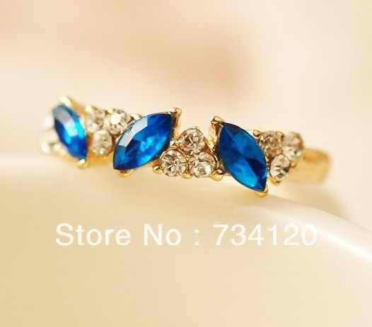 Free shipping fashion jewelry wholesale Crystal ring Three Rhinestones Ring Fashion Crystal Rings Wholesale