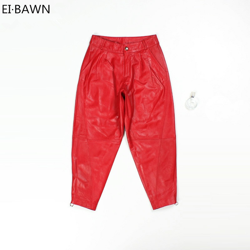 2018 New Arrival Women Pants Genuine Leather Haren Black Red Sheepskin Wide Long Casual Pants Real Leather Korean Fashion