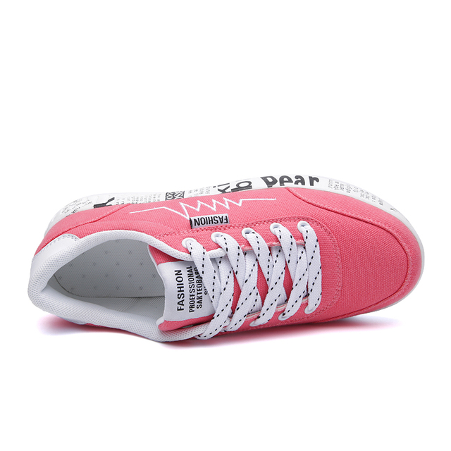 HZXINLIVE 2018 Fashion Women Vulcanized Shoes Sneakers Ladies Lace-up Casual Shoes Breathable Walking Canvas Shoes Graffiti Flat 4