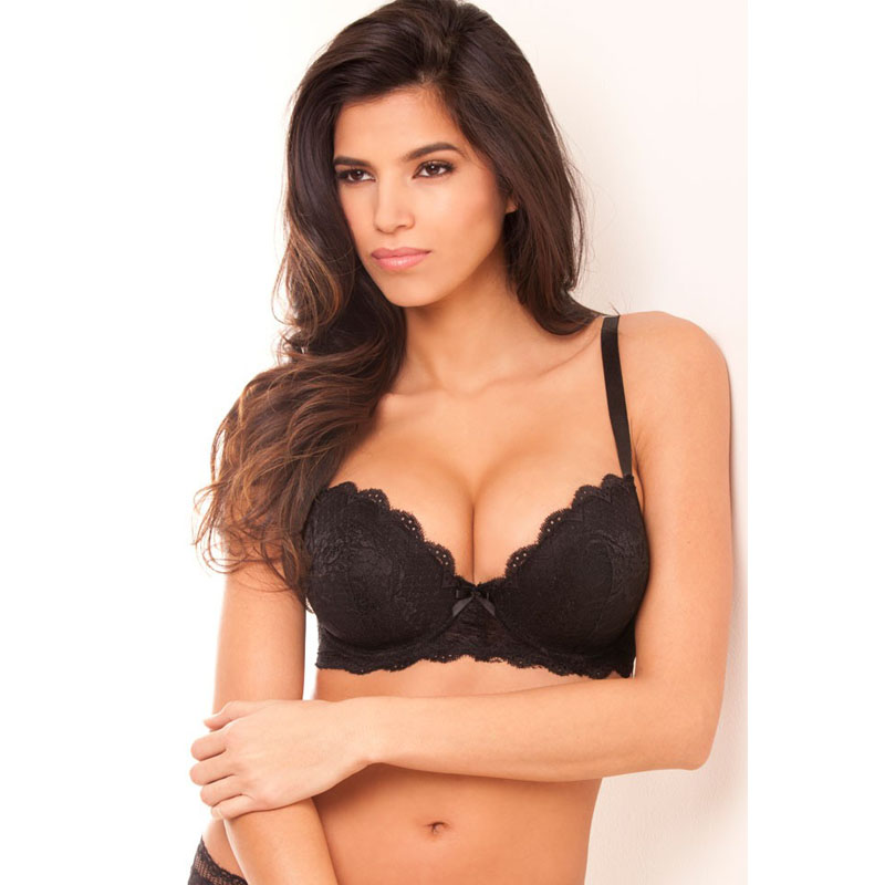 e6ff14a260a Women Bra Push Up Very Big Size Underwire 3 4 Cup Black Sexy Lace Bra Back  Closure Underwear D DD DDD E F FF G 30-46 NO7609