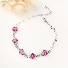 цена на gemstone jewelry factory wholesale 925 sterling silver plated natural pink topaz adjustable bracelet for women